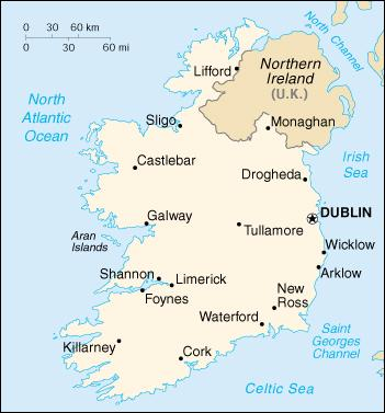 Map Of Ireland With Major Cities.Streetmap